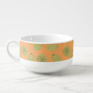 Lemon Fruits Sliced and Whole Lemons on Orange Soup Mug