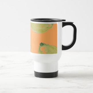 Lemon Fruits Sliced and Whole Lemons on Orange Stainless Steel Travel Mug