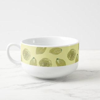 Lemon Fruits Sliced and Whole Lemons on Yellow Soup Mug