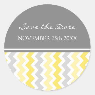 Lemon Gray Chevrons Save the Date Envelope Seal Round Sticker