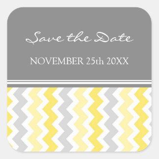Lemon Gray Chevrons Save the Date Envelope Seal Square Sticker