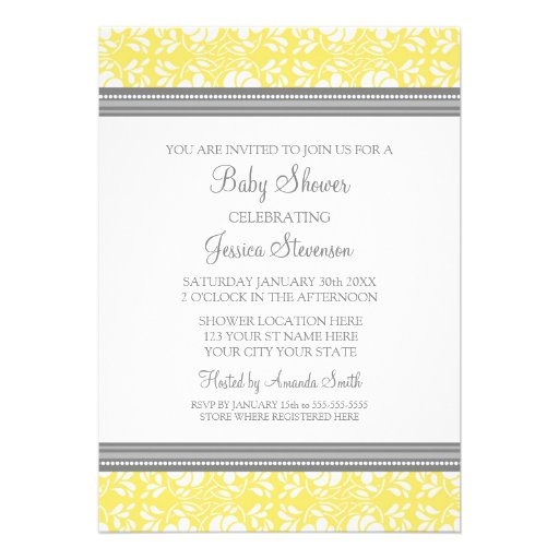 Lemon Gray Damask Custom Baby Shower Invitations