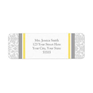 Lemon Gray Damask Custom Return Address Labels