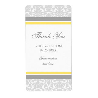 Lemon Gray Damask Wedding Labels