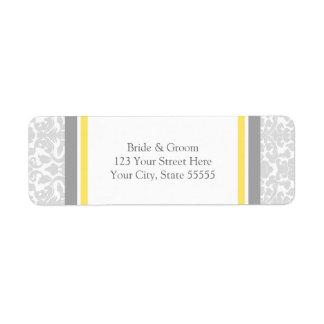 Lemon Gray Wedding Custom Return Address Labels