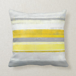 'Lemon' Grey and Yellow Abstract Art Pillow