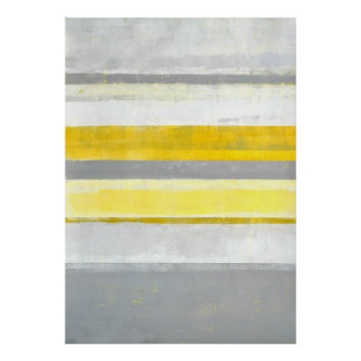'Lemon' Grey and Yellow Abstract Art Poster Print