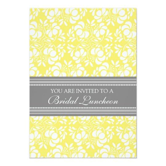 Lemon Grey Damask Bridal Lunch Invitation Cards
