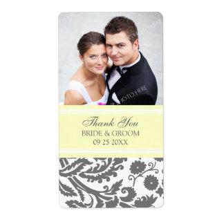 Lemon Grey Damask Photo Wedding Labels