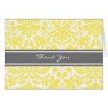 Lemon Grey Damask Wedding Thank You Card