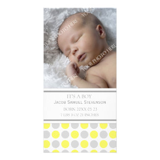 Lemon Grey Template New Baby Birth Announcement Custom Photo Card