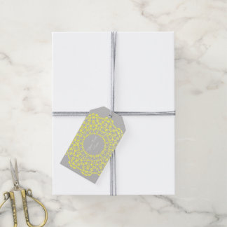 Lemon Grey Vintage Lace Patterned Personalized Gift Tags