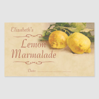 Lemon jam or canning rectangular sticker