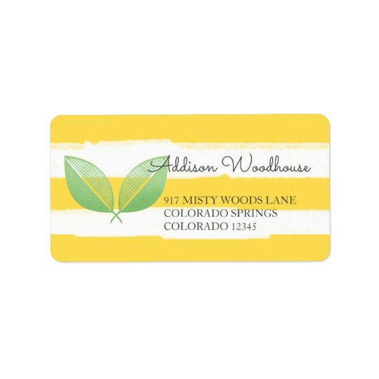 Lemon Leaves Yellow & Green | Personalised Address Label