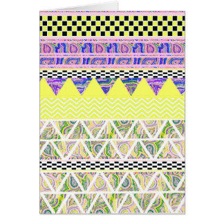 Lemon & Lilac Funky Boho Tribal Stripes Pattern Card
