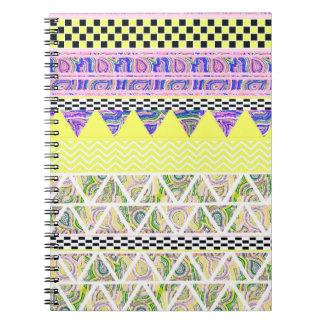 Lemon & Lilac Funky Boho Tribal Stripes Pattern Notebook