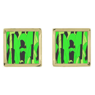 Lemon Lime Abstract Art Gold Finish Cuff Links