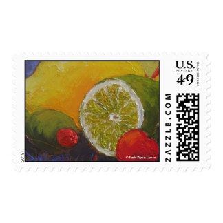 Lemon Lime Cherry Postage Stamp