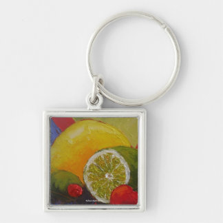 Lemon Lime Cherry Silver-Colored Square Key Ring