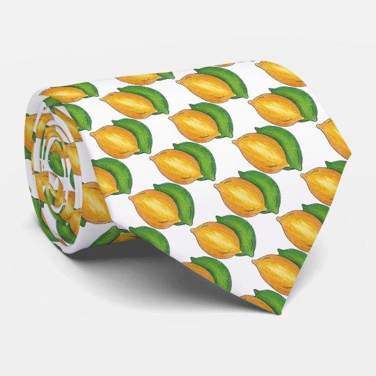 Lemon Lime Citrus Fruit Print Foodie Tie
