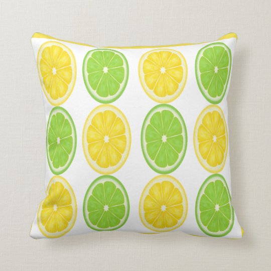 Lemon Lime Citrus Pattern Pillow
