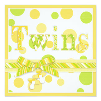 Lemon Lime Dots Twins Baby Shower 13 Cm X 13 Cm Square Invitation Card