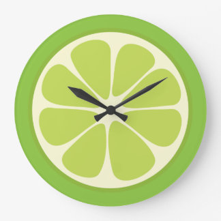 Lemon Lime Green Juicy Citrus Fruit Slice Kitchen Large Clock
