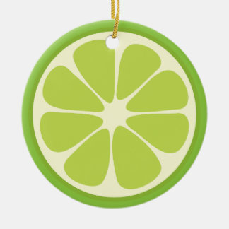 Lemon Lime Green Juicy Summer Citrus Fruit Slice Christmas Ornament
