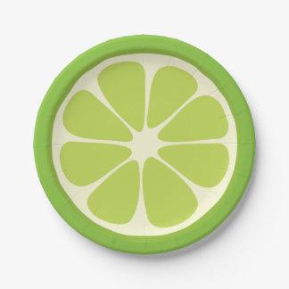 Lemon Lime Green Juicy Summer Citrus Fruit Slice Paper Plate