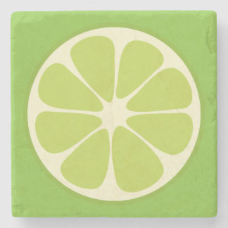 Lemon Lime Green Juicy Summer Citrus Fruit Slice Stone Coaster