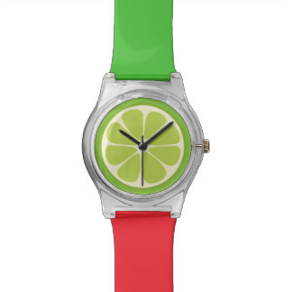 Lemon Lime Green Juicy Summer Citrus Fruit Slice Watch