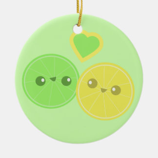 Lemon Lime Heart Kawaii Christmas Ornament