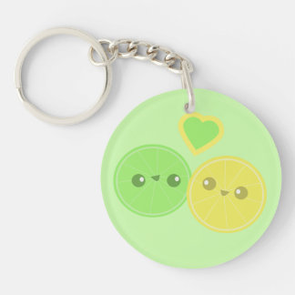 Lemon Lime Heart Kawaii Acrylic Key Chain