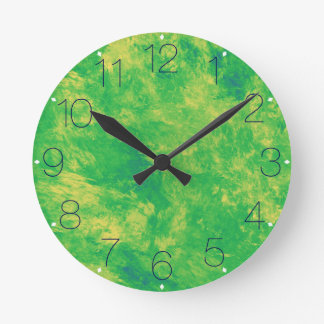 Lemon Lime Marble with Numbers Wall Clock