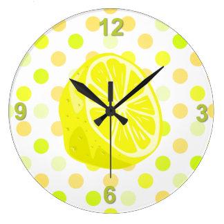 Lemon Lime Polka Dot Kitchen Wall Clock