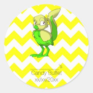 Lemon Lime Reptilian Bird Party Favor Round Sticker