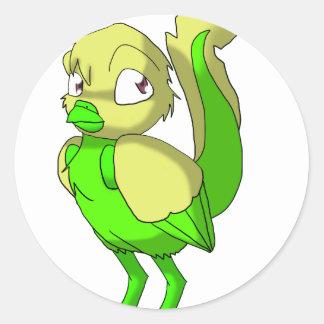 Lemon Lime Reptilian Bird Round Sticker