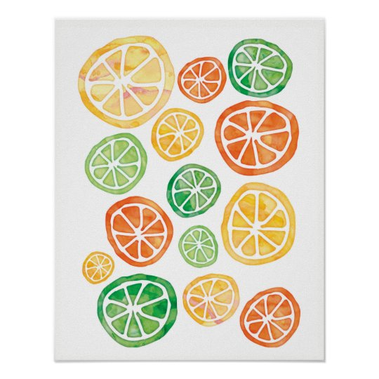 Lemon Limes and Oranges watercolor poster
