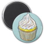 Lemon Merangue Cupcake 6 Cm Round Magnet
