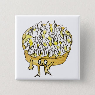 Lemon Meringue Pie Funny Quirky watercolour Art 15 Cm Square Badge