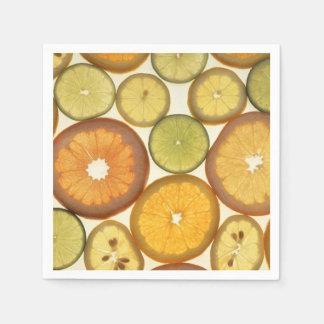 Lemon, Orange and Lime Slices - Yellow Green Disposable Serviette