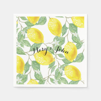Lemon paper napkins With custom personalize name