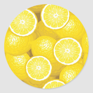 Lemon Pattern 2 Classic Round Sticker