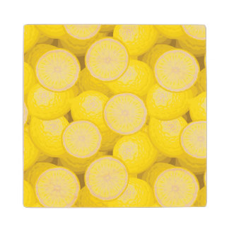 Lemon Pattern 2 Maple Wood Coaster