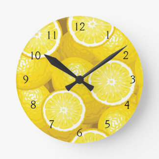 Lemon Pattern 2 Round Clock