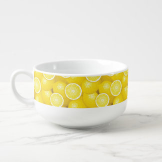 Lemon Pattern 2 Soup Bowl With Handle