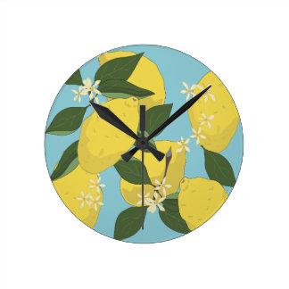 Lemon Pattern Round Clock