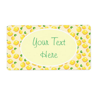 Lemon Pattern Yellow Green Writing Label Customize Shipping Label