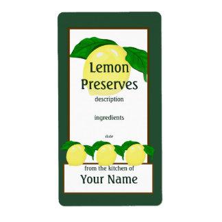 Lemon Preserves Label
