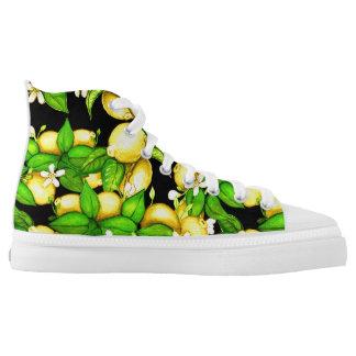 Lemon Print High Tops on black Printed Shoes
